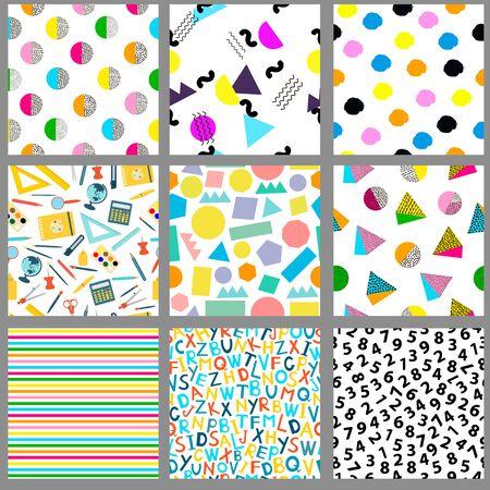 Seamless patterns. Geometric, alphabet, numeral, school backgrounds.  Vector illustration