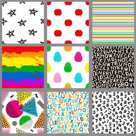 Seamless patterns. Geometric, alphabet, numeral, apple, star, school backgrounds.  Vector illustration
