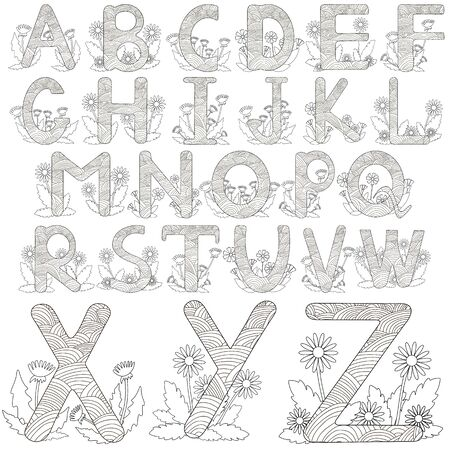 Alphabet with  flowers. Black and white letters. Vector illustration. Stock Illustratie
