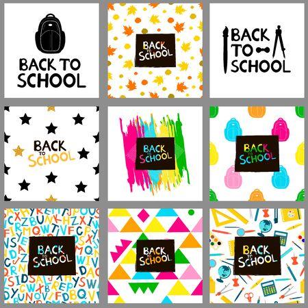 Back to school backgrounds. Set. Vector illustration