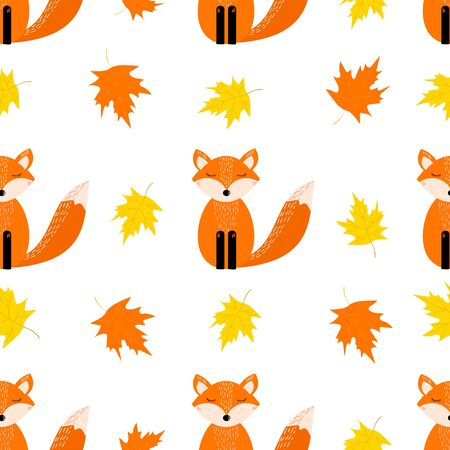 Autumn seamless pattern with cute fox, leaves on the white background. Vector illustration