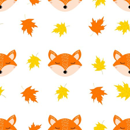 Autumn seamless pattern with cute fox face, leaves on the white background. Vector illustration Stock Illustratie