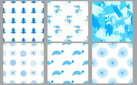 Winter seamless patterns. Merry Christmas and New Year holidays backgrounds. Vector illustration. Stock Illustratie