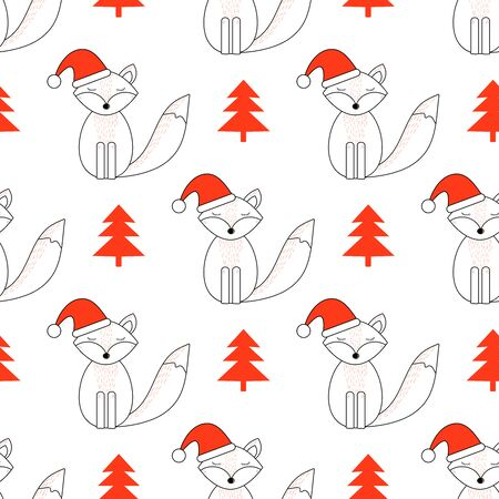 Cute fox. Happy New Year and Christmas holiday. Seamless pattern. Vector illustration Stock Illustratie