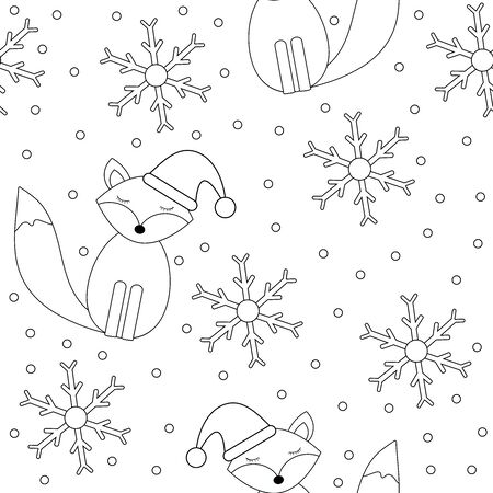 Winter seamless pattern. Cute fox and snowflakes. Coloring page. Vector illustration. 矢量图像