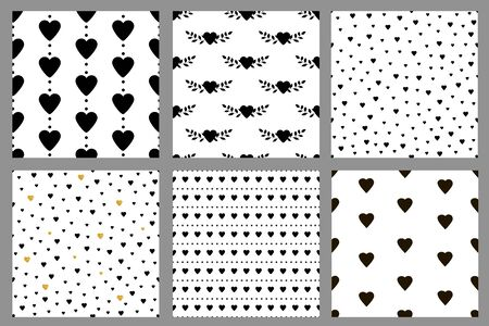 Seamless patterns with hearts. Black and white. Vector illustration
