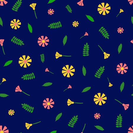 Floral seamless pattern. Colorful flowers on the blue background. Vector illustration.