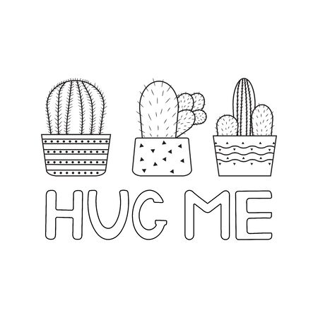 Cactuses. Hug me. Coloring page. Vector illustration. 向量圖像