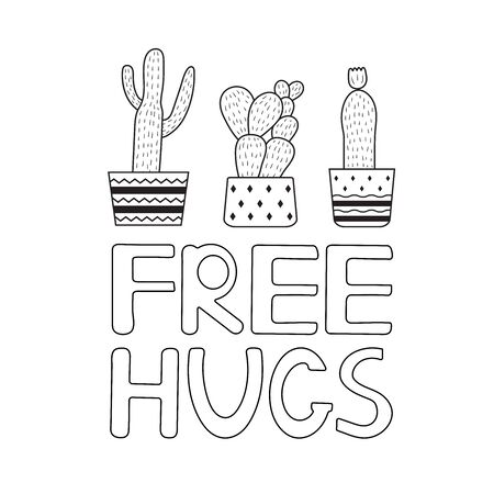 Cactus. Free hugs. Coloring page. Vector illustration. 向量圖像
