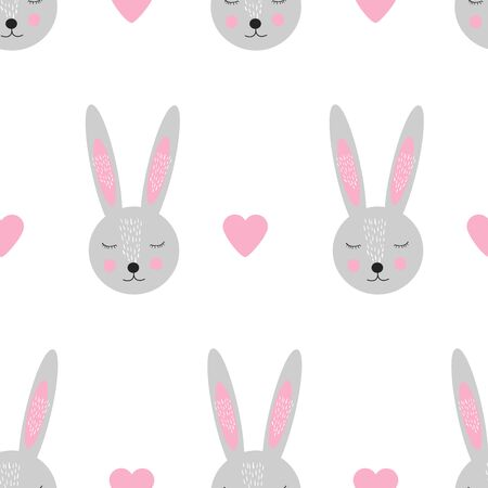 Seamless pattern with cute bunny face and hearts. Vector illustration