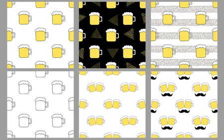 Seamless patterns with beer mugs. Creative set. Vector illustration