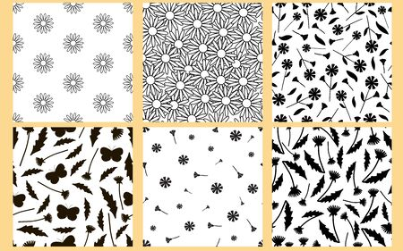 Floral seamless patterns. Black  flowers on the white background. Vector illustration.