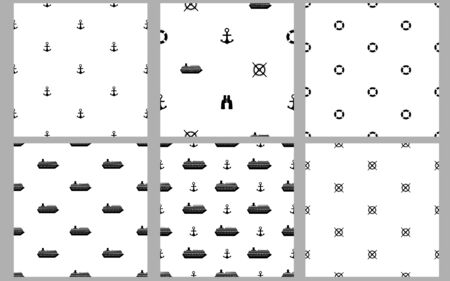 Marine seamless patterns. Black ships, anchors, binoculars and wheels. Vector illustration