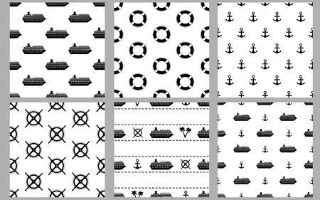 Marine seamless patterns. Black ships, palms, anchors, binoculars and wheels. Vector illustration 일러스트