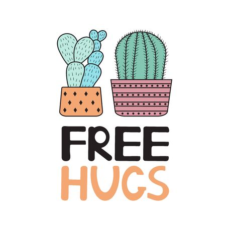 Free hugs. Colorful cactuses on the white background.Vector illustration. 일러스트