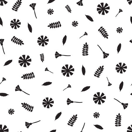 Floral seamless pattern. Black flowers on the white background. Vector illustration.