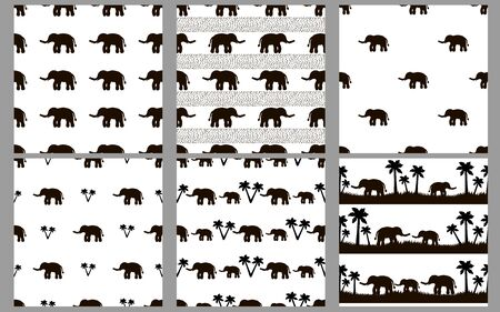 Seamless patterns with black elephants on the white background. Vector illustration Иллюстрация