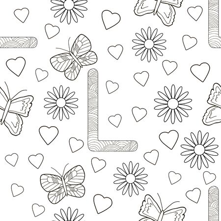 Letter L with flowers, leaves and butterflies. Seamless pattern. Coloring page. Vector illustration.