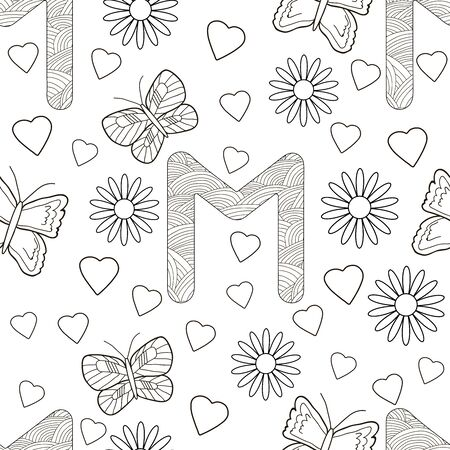 Letter M with flowers, leaves and butterflies. Seamless pattern. Coloring page. Vector illustration.