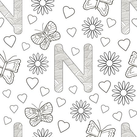 Letter N with flowers, leaves and butterflies. Seamless pattern. Coloring page. Vector illustration. 일러스트