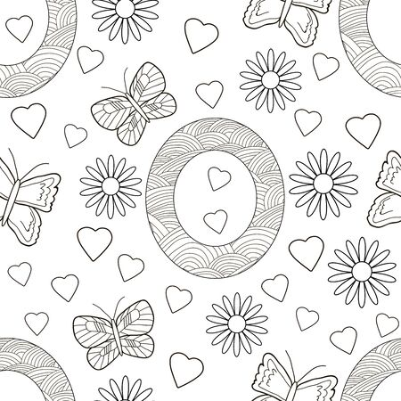 Letter O with flowers, leaves and butterflies. Seamless pattern. Coloring page. Vector illustration. 일러스트