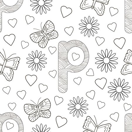 Letter P with flowers, leaves and butterflies. Seamless pattern. Coloring page. Vector illustration.