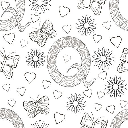 Letter Q with flowers, leaves and butterflies. Seamless pattern. Coloring page. Vector illustration.