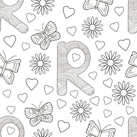 Letter R with flowers, leaves and butterflies. Seamless pattern. Coloring page. Vector illustration.