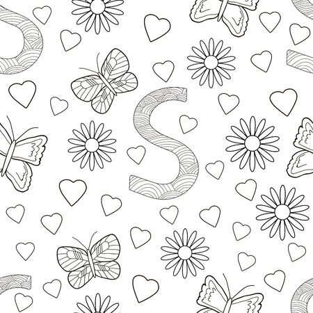 Letter S with flowers, leaves and butterflies. Seamless pattern. Coloring page. Vector illustration.