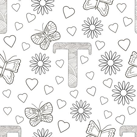 Letter T with flowers, leaves and butterflies. Seamless pattern. Coloring page. Vector illustration.