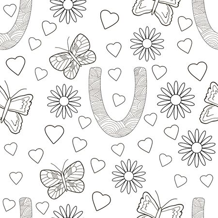Letter U with flowers, leaves and butterflies. Seamless pattern. Coloring page. Vector illustration.