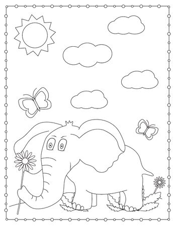 Elephant. Coloring page. Vector illustration.