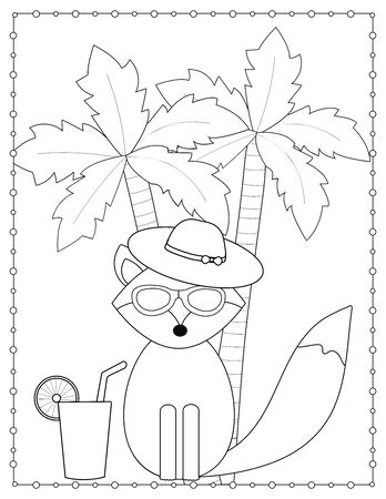 Fox and palm trees. Summer coloring page. Vector illustration.
