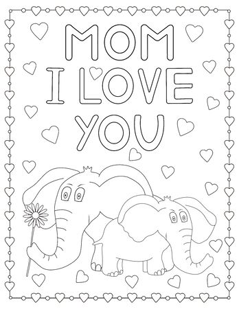 Elephant. Coloring page. Mom I love you. Vector illustration.