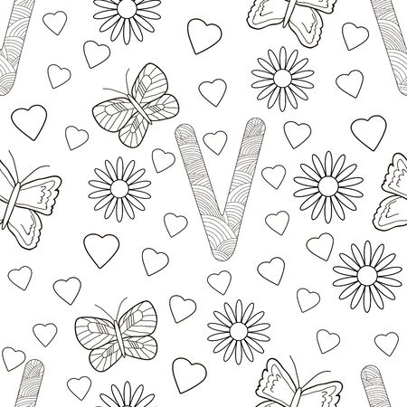 Letter V with flowers, leaves and butterflies. Seamless pattern. Coloring page. Vector illustration.