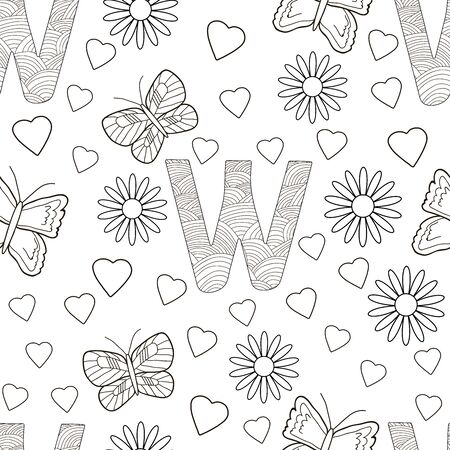 Letter W with flowers, leaves and butterflies. Seamless pattern. Coloring page. Vector illustration.