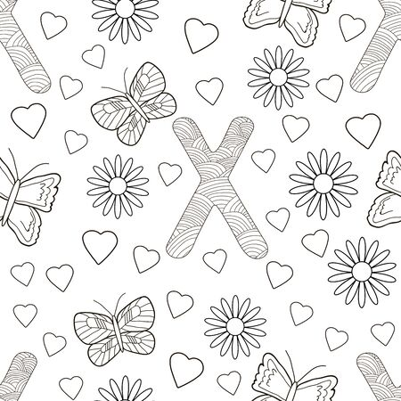 Letter X with flowers, leaves and butterflies. Seamless pattern. Coloring page. Vector illustration.