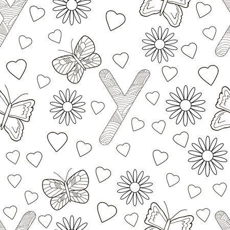 Letter Y with flowers, leaves and butterflies. Seamless pattern. Coloring page. Vector illustration.