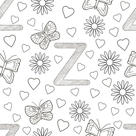 Letter Z with flowers, leaves and butterflies. Seamless pattern. Coloring page. Vector illustration. 일러스트