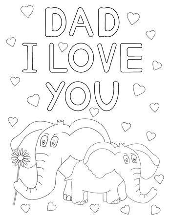 Dad I love you. Father's day card. Coloring page. Vector illustration