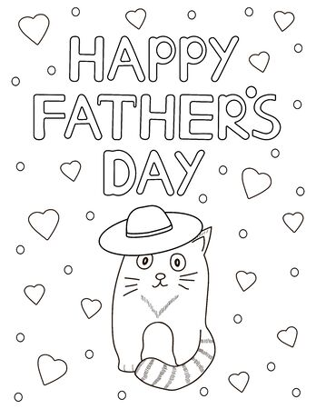 Father's day card. Coloring page. Vector illustration