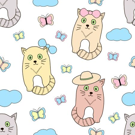 Seamless pattern with cats and butterflies. Vector illustration. 일러스트