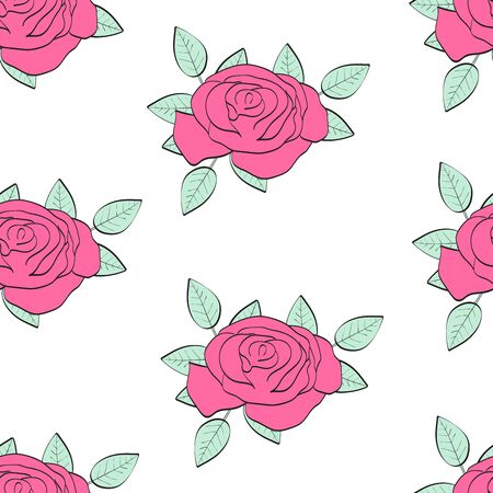 Pink Roses. Seamless pattern with flowers. Colorful background. Vector illustration.
