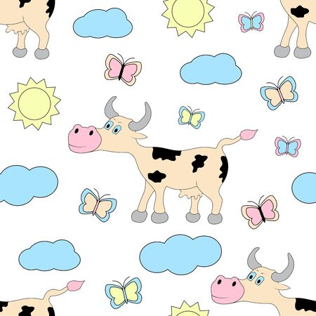 Cow seamless pattern. Vector illustration. 일러스트