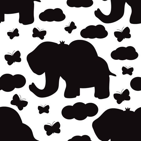 Seamless pattern with elephant and butterflies. Vector illustration