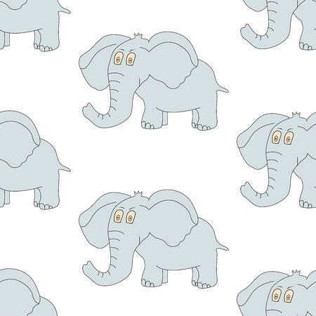 Seamless pattern with elephant. Cute animal. Vector illustration 일러스트