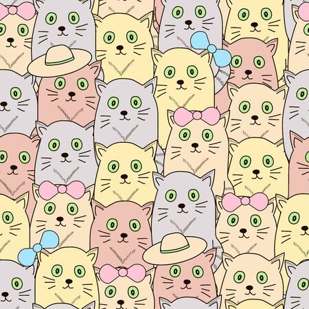 Seamless pattern with cats. Vector illustration. 일러스트