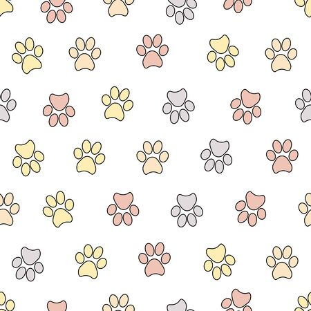 Seamless patterns with animal footprints. Vector illustration