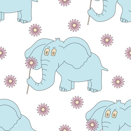 Seamless pattern with elephant and flowers. Cute animal. Vector illustration 일러스트