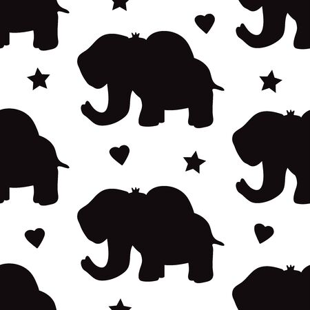 Seamless pattern with black elephants, hearts and stars. Vector illustration